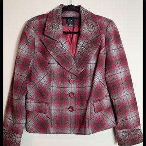 Tribal plaid, embroidered plaid jacket pink & grey